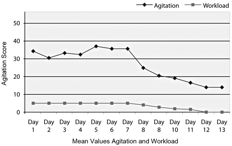 Mean values for agitation and workload. Day 1 = patient's first day